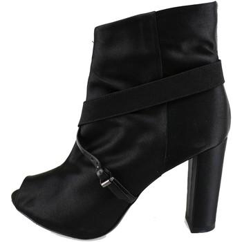 Chaussures Femme Bottines Manas bottines noir satin AH922 noir