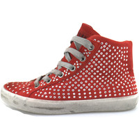 Chaussures Fille Baskets montantes Crime London sneakers rouge daim strass AH982 rouge