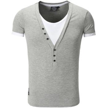 Vêtements Homme T-shirts & Polos Carisma Tee shirt fashion col v doublé T-shirt 202 gris clair Gris