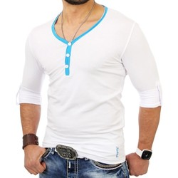 Vêtements Homme T-shirts & Polos Monsieurmode T-shirt fashion et tendance T-shirt 5054 blanc Blanc
