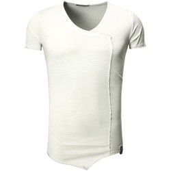 Vêtements Homme T-shirts & Polos Monsieurmode T-shirt asymétrique fashion T-shirt T22 gris clair Gris