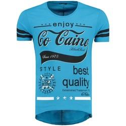 Vêtements Homme T-shirts & Polos Monsieurmode T-shirt oversize imprimé T-shirt 512029 bleu Bleu
