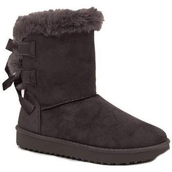 Chaussures Femme Boots Primtex Bottes fourrées  avec ruban satiné et fourrure synthétique Gris