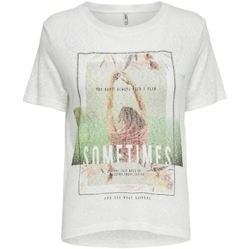 Vêtements Femme T-shirts manches courtes Only onlRUNA S/S SOMETIMES TOP Blanc