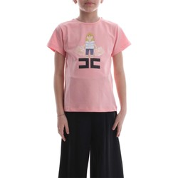 Vêtements Enfant T-shirts manches courtes Elisabetta Franchi EFTS37 JE95 RE001 T-SHIRT fille Rosa Rosa