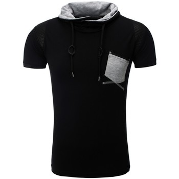 Vêtements Homme T-shirts & Polos Monsieurmode T-shirt fashion pour homme T-shirt M108 noir Noir