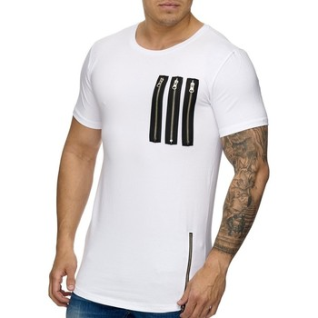 Vêtements Homme T-shirts & Polos Monsieurmode T-shirt fashion oversize T-shirt M948 blanc Blanc