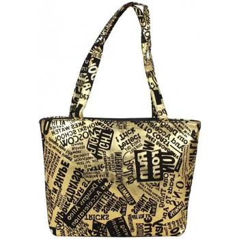 Cabas A découvrir ! sac doré motif design écriture graphologique noire