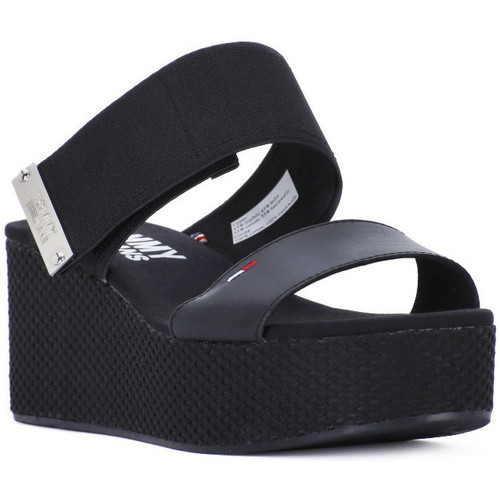 Tommy Hilfiger 990 MATERIAL MIX Nero - Chaussures Sandale Femme