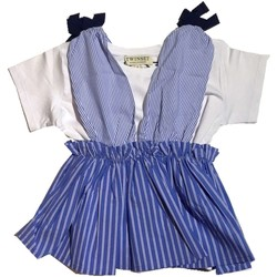 Vêtements Fille Robes courtes Twin Set GS82L1 1 pull-over fille Céleste Céleste