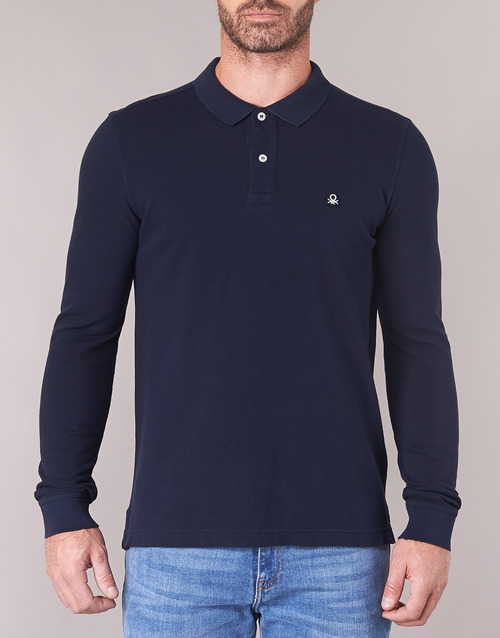 Polos Mazarri Benetton Longues Homme Manches Marine odBeCx