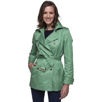 Vêtements Femme Trenchs Trench And Coat Trench court vert en gabardine de coton Vert