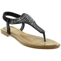 Chaussures Femme Sandales et Nu-pieds Catisa Angkorly - Sandale Tong - strass diamant brillant fantaisie Noir