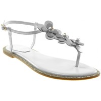 Chaussures Femme Sandales et Nu-pieds Catisa Angkorly - Sandale Tong lanière cheville - fleurs perle Strass Blanc