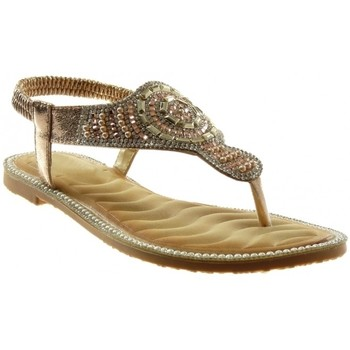 Chaussures Femme Sandales et Nu-pieds Forever Folie Angkorly - Sandale Tong slip-on - Strass fantaisie perle Jaune
