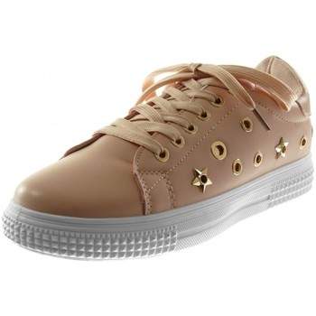 Chaussures Femme Baskets basses Bello Star Angkorly - Baskets Sporty chic - perforée etoile clouté Rose