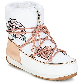 Chaussures Femme Bottes de neige Moon Boot PEACE & LOVE WP Blanc / Rose gold