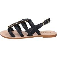 Chaussures Femme Sandales et Nu-pieds E...vee chaussures femme  sandales noir cuir BY184 noir