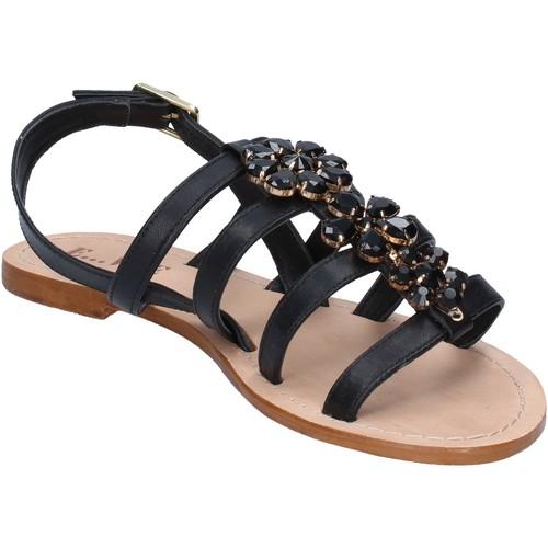 E...sandales noir cuir BY184 E...vee sandales et nu-pieds femme noir