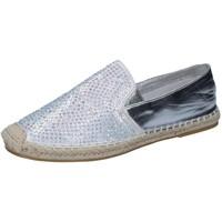 Chaussures Femme Mocassins Sara Lopez espadrillas argent textile strass BY241 argent