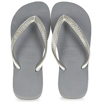 Chaussures Femme Tongs Havaianas TOP METALLIC Gris Acier