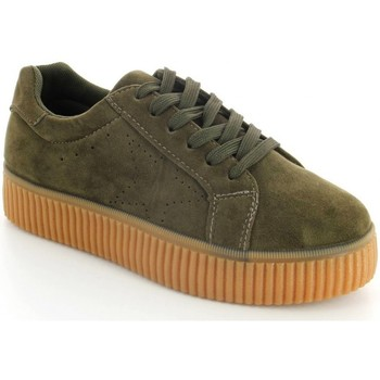 Chaussures Femme Baskets basses Pomme Passion Baskets style creepers effet daim Acelya Kaki