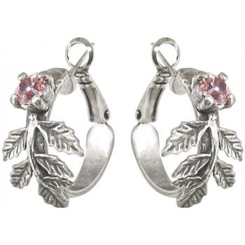 Montres & Bijoux Femme Boucles d'oreilles Franck Herval Boucles d 'oreilles  JARDIN ANGLAIS petites creoles 12--60372 Rose