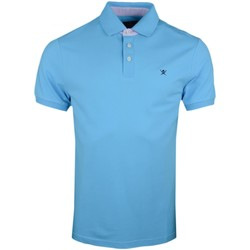 Vêtements Homme Polos manches courtes Hackett Polo piqué  bleu turquoise régular pour homme Bleu