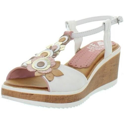 1bfb475032dac2 Chaussures Femme Sandales et Nu-pieds Marila Talons compensés en cuir  ref_neox43585-multi Blanc