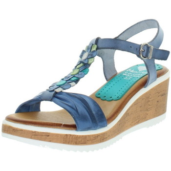 Chaussures Femme Sandales et Nu-pieds Marila Talons compensés  en cuir ref_neox43583-bleu Bleu
