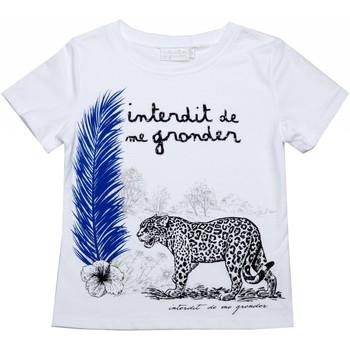 Vêtements Enfant T-shirts manches courtes Interdit De Me Gronder Panthère Blanc