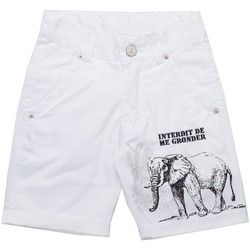 Vêtements Garçon Shorts / Bermudas Interdit De Me Gronder Short LUCK Blanc
