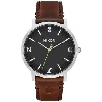 Montres & Bijoux Homme Montre Nixon Montre  Porter Leather - Black / Brown Fin Noir