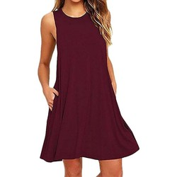 Vêtements Femme Robes courtes Rogi Robes de Plage Sans Manches Wine Red