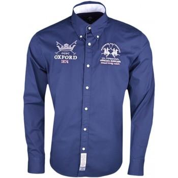 Vêtements Homme Chemises manches longues La Martina Chemise  bleu marine Oxford 1874 régular pour homme Bleu