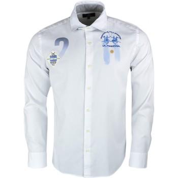 Vêtements Homme Chemises manches longues La Martina Chemise  blanche Argentine slim fit pour homme Blanc