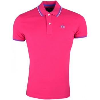 Vêtements Homme Polos manches courtes La Martina Polo piqué basique  rose fushia slim fit pour homme Rose