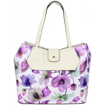 Cabas Eternel Sac cabas Éternel blanc fleurs violettes