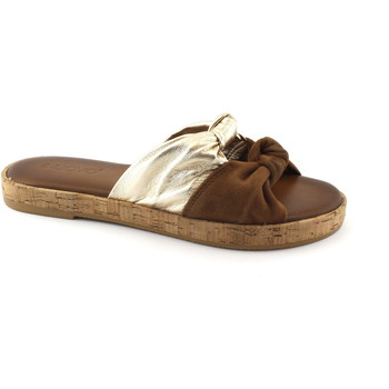 Chaussures Femme Mules Inuovo 8275 noix de coco ciabatta femme n?ud en cuir liège Oro