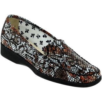 Chaussures Femme Mocassins Marco ANAEL Marron/blanc cuir