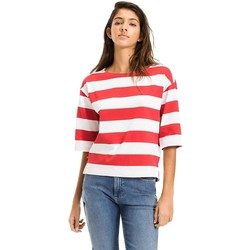 Vêtements Femme T-shirts manches courtes Tommy Hilfiger Tommy Jeans Camisetas Mujer Bold Stripe Tee Blanco Rouge