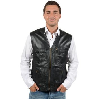 Vêtements Homme Gilets / Cardigans Pallas Cuir Gilet en cuir agneau ref_reg23688 noir NOIR