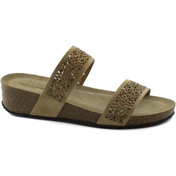 Chaussures Femme Mules Grunland ANIN CB1480 sandales beige femmes pantoufles talon compensé tal Beige