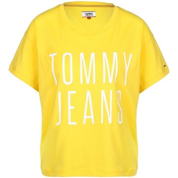 Vêtements Femme T-shirts manches courtes Tommy Hilfiger Tommy Jeans Camiseta Mujer Cropped Logo Amarillo Jaune