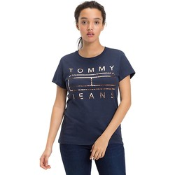 Vêtements Femme T-shirts manches courtes Tommy Hilfiger Tommy Jeans Camiseta Mujer Clean Flag Logo Marino Bleu
