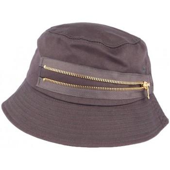 Accessoires textile Chapeaux Hip Hop Honour Chapeau Bob Gris fermeture eclair doré en coton Gris