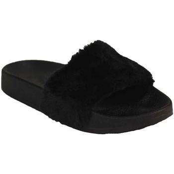 Chaussures Femme Claquettes Primtex Claquette fourrée  rose ou noir type mule fourrure synthétique Noir