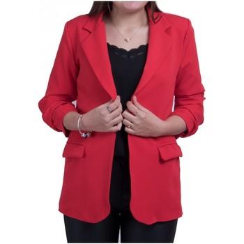 Vêtements Femme Vestes / Blazers Primtex Veste Blazer  mi longue à manches froncées 3/4 Rouge
