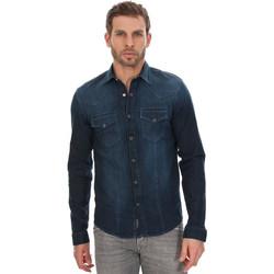 Vêtements Homme Chemises manches longues Kaporal Chemise manches longues Alday Darker Bleu Bleu