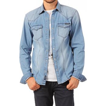 Vêtements Homme Chemises manches longues Kaporal Chemise alday Frip manches longues Bleu Bleu
